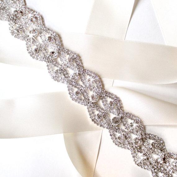 Wedding - Fantastic Rhinestone Encrusted Bridal Belt Sash - Ivory White Satin Ribbon - Silver and Crystal Extra Wide, Extra Long Wedding Dress Belt