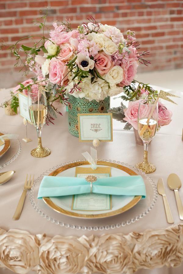 Wedding - Gold   Mint Wedding Inspiration