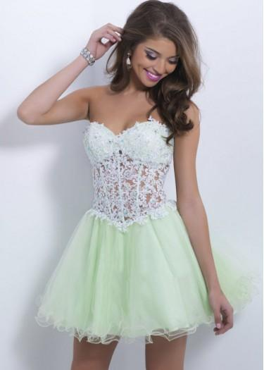 Wedding - Fashion Cheap Light Green Sexy Bra-Shaped Jeweled Lace Short Prom Dress 2015 $243