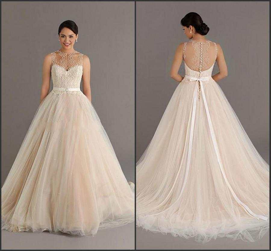Stunning champagne wedding dresses with sash cheap sheer for Jewelry for champagne wedding dress