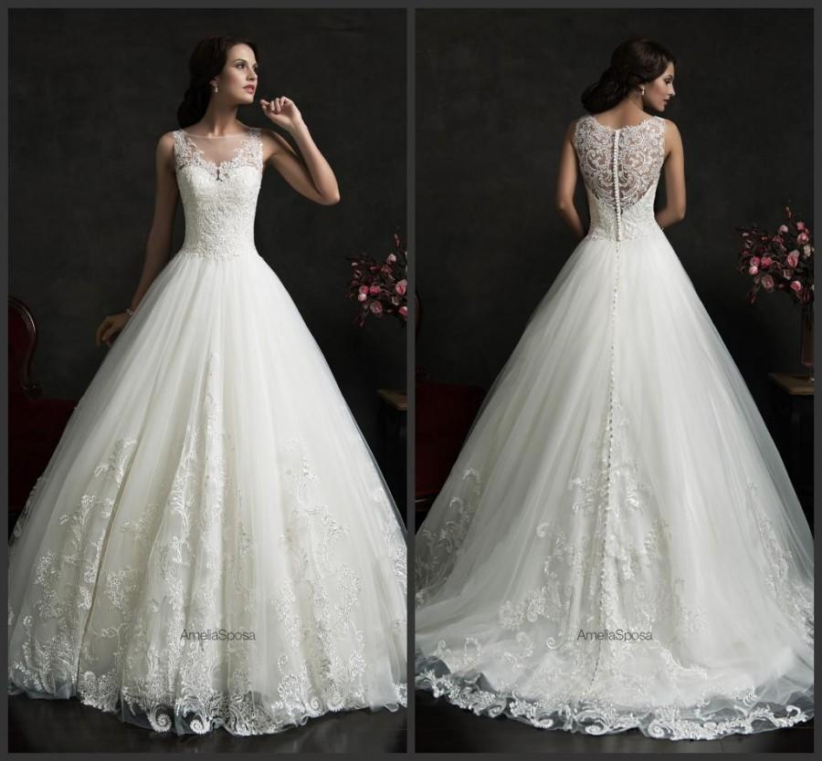 Vintage sleeveless wedding dresses with applique lace for Vintage wedding dresses online shop