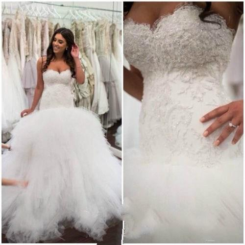 Wedding - Real Image Wedding Dresses With Sleeveless Applique Sequins Chapel Train Sweetheart Tulle Custom 2015 Vestido De Novia Bridal Ball Gowns Online with $122.56/Piece on Hjklp88's Store