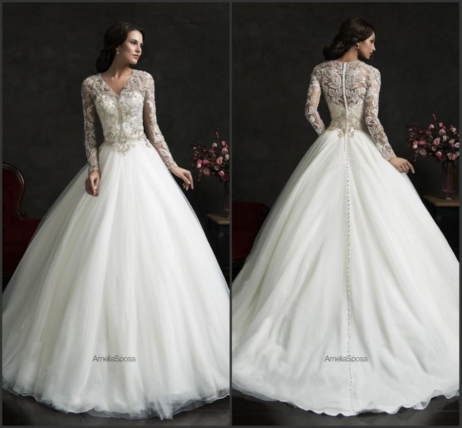 Boda - 2015 New Arrival Vintage Wedding Dresses With Long Sleeve Illusion Applique Sheer Neck Tulle Custom Made Bridal Ball Gowns Vestido De Novia Online with $116.11/Piece on Hjklp88's Store