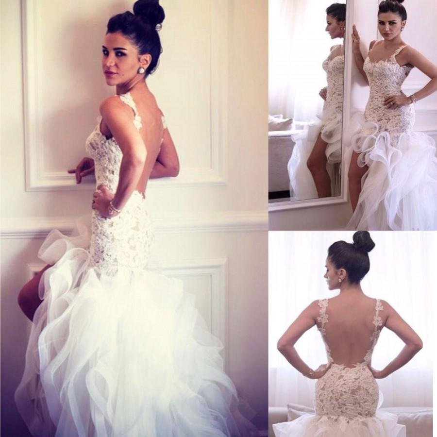 Sexy 2015 high low wedding dresses mermaid cascading ruffle tiers sexy 2015 high low wedding dresses mermaid cascading ruffle tiers organza spring lace spaghetti applique bridal gowns backless custom made online with ombrellifo Image collections