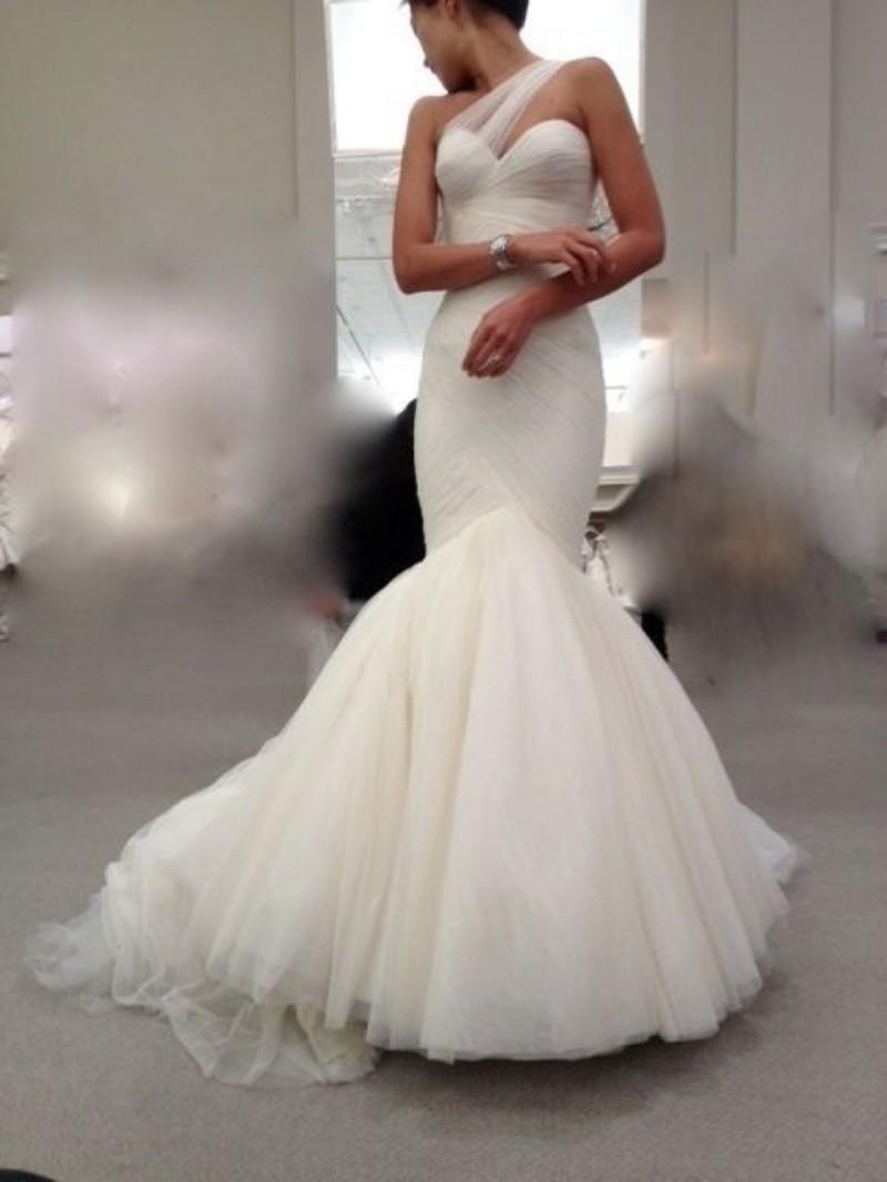 New Designer Sheer 2015 Mermaid Wedding Dresses One Shoulder Trumpet Pleats W