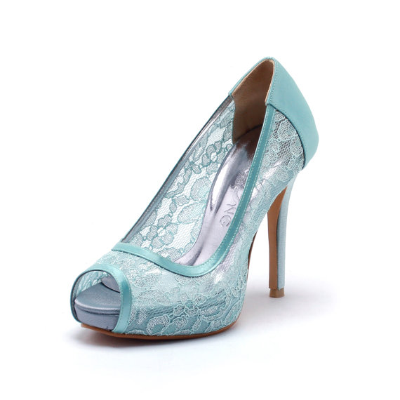 Свадьба - Sweet Memory, Tiffany Blue Lace Wedding Shoes,Tiffany Blue Bridal Heels,Tiffany Blue Satin See Through Lace Peep Toe Pumps