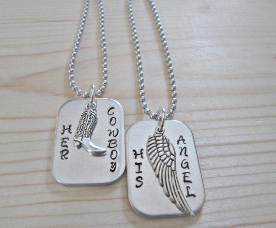 زفاف - Her Cowboy His Angel Necklace Set, His and Her Couple Set ,Husband And Wife, Western Jewelry, Horse Jewelry, Angel Wing, Wedding Set