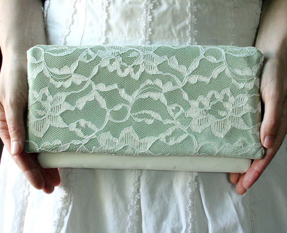 Свадьба - The LENA CLUTCH - Sage Green and Ivory Lace Clutch - Green Wedding Clutch - Bridesmaid Gift Idea