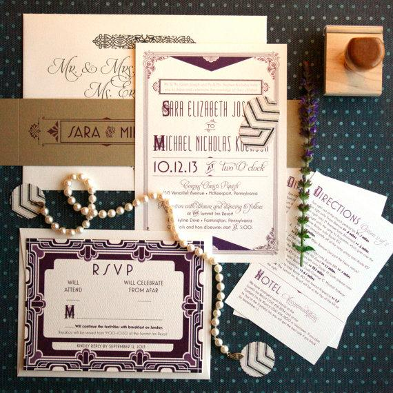 Art Deco Wedding Invitations Inspired By The Great Gatsby Roaring Twenties Layered Vintage Custom Suite Daisy