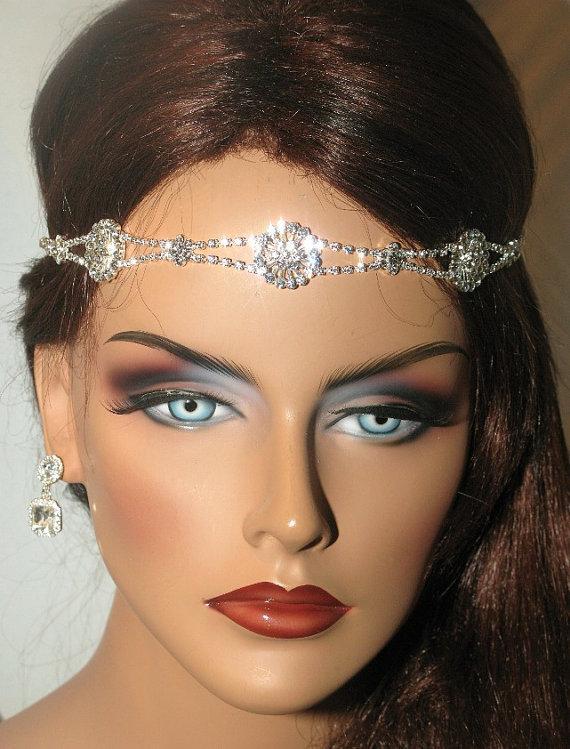 زفاف - SPECIAL - swarovski crystal wedding headband, wedding headwrap ,bridal crystal foreband, ribbon wedding headband