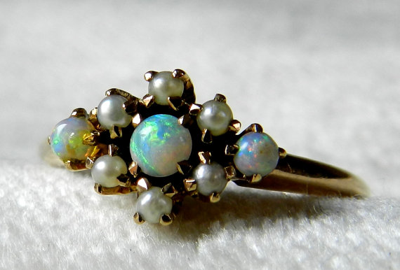 Wedding - Sold to K, 2nd payment, Opal Engagement Ring, Australian Blue Opal Seed Pearl Ring, Antique Victorian Blue Opal Ring 14K, October Birthday