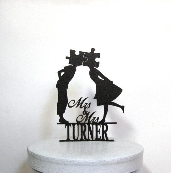 Mariage - Custom Wedding Cake Topper - Puzzle wedding with Mr & Mrs name