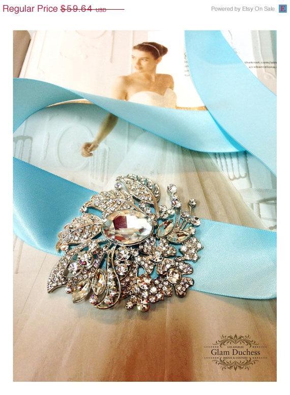 زفاف - Bridal sash, Blue Sash, crystal sash, Blue ribbon sash, rhinestone belt, wedding accessory, bridal belt, bridesmaid belt