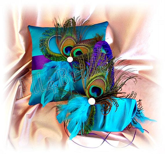 Hochzeit - Peacock Weddings ring bearer pillow and basket - regemcy purple and turquoise - peacock feaher wedding accessories