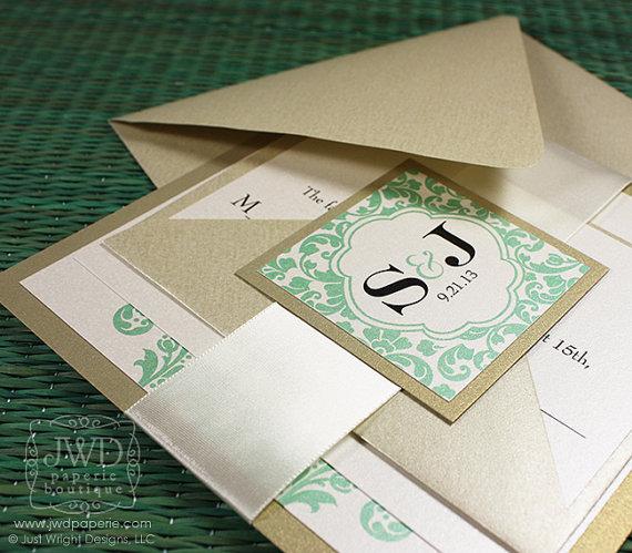 Elegant Wedding Invitation Light Gold Mint Green