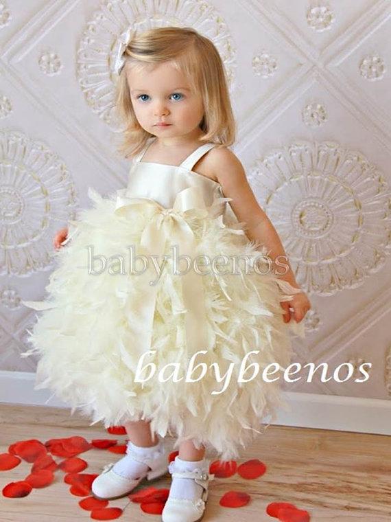 Hochzeit - Flower Girl Dress  Flower girl Dress  Feather flower girl Dress - Swan,  Solid Bodice - Made to Order Girls Sizes - Girls Sizes - 5, 6, 7, 8
