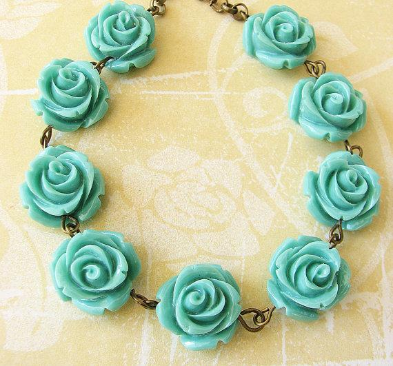 Wedding - Flower Necklace Turquoise Jewelry Bridesmaid Jewelry Rose Jewelry Rose Necklace Gift Set Single Strand Beadwork
