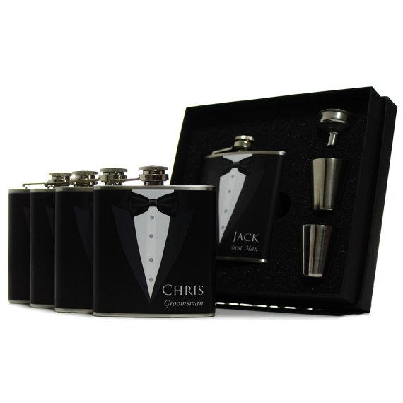 Свадьба - 3, Gifts for Groomsmen, Black Tuxedo Flask Gift Set of 3