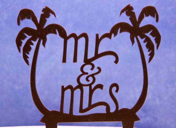 زفاف - Beach Themed Wedding Cake Topper Mr and Mrs with Palm Trees