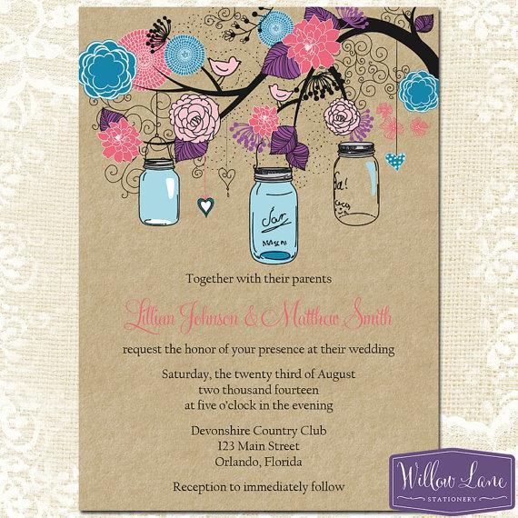 Mason Jar Wedding Invitation - Kraft Pink Purple Blue Mason Jar ...