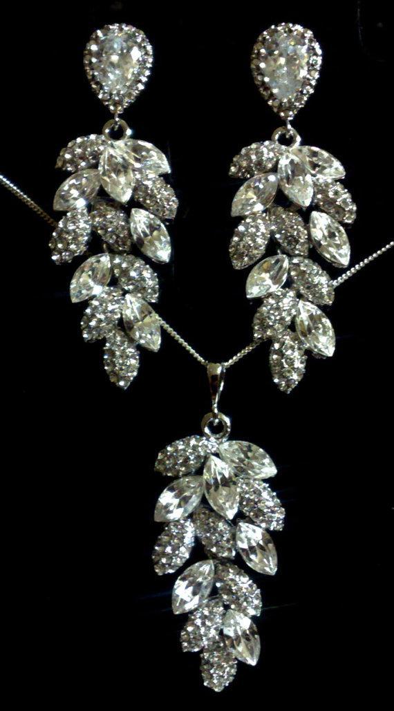 زفاف - Bridal Jewelry Set, Leaves Earrings, Leaf Necklace, Swarovski Crystal, Sterling Silver Posts, BOTANICA