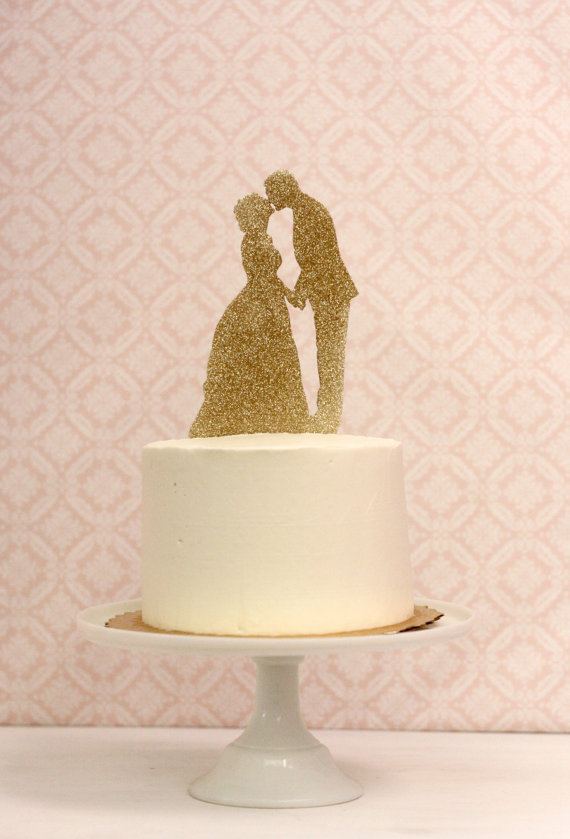 زفاف - Silhouette Wedding Cake Topper  - in gold glitter - CUSTOMIZED with YOUR  OWN Silhouettes