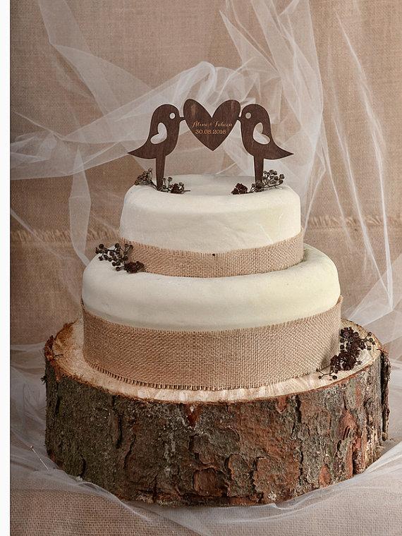 Rustic Cake Topper, Wood Cake Topper, Monogram Cake Topper ...