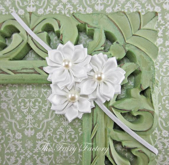 Wedding - White Flower Headband, Snow White Flower Trio w/ Pearls Headband, The Emily, Baptism, Christening, Wedding, Baby Toddler Child Headband