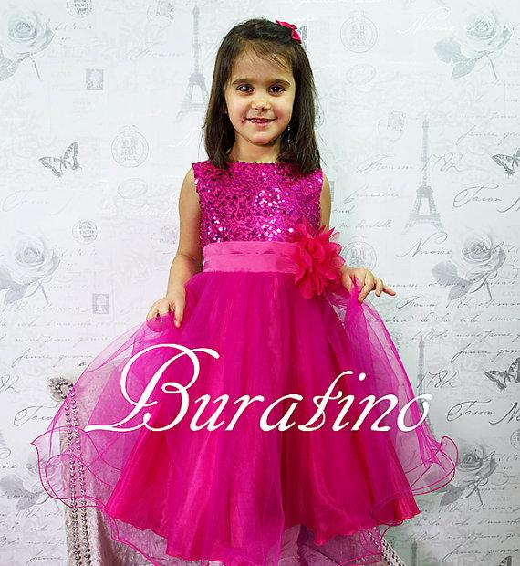 Flower Girl Dress Fuchsia Sequin Double Mesh Flower Girl ...