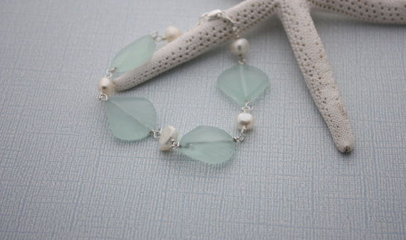 Свадьба - Sea Glass Bracelet Sea Glass Jewelry Beach Glass Jewelry Seaglass Jewelry Beach Glass Bracelet Wedding Jewelry Bridal Party Bridesmaid 029