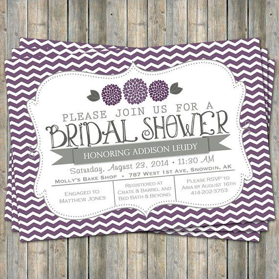 Purple Flower Bridal Shower Invitation : Purple chevron bridal shower invitation with flowers