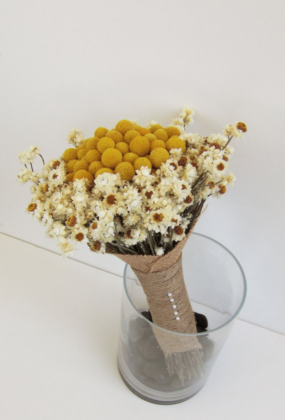Mariage - Heather - Dried Flower Bridesmaid or Bridal Wedding Bouquet, ivory, white, and gold