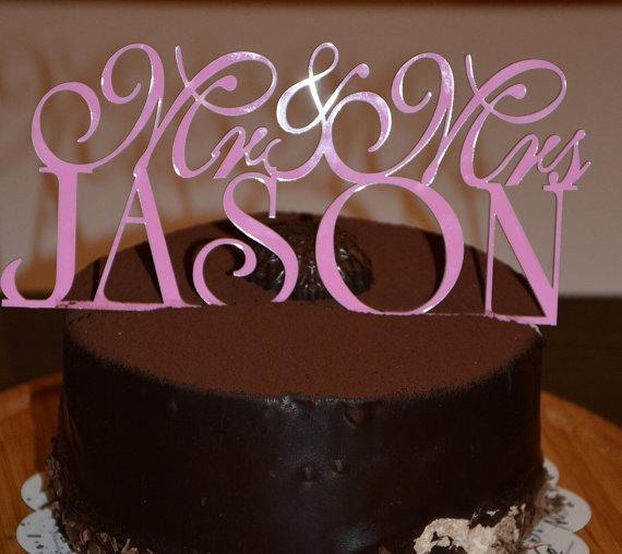 زفاف - Personalized Custom Mr & Mrs Wedding Cake Topper with YOUR Last Name.