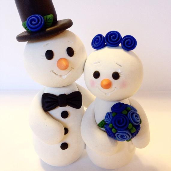 Hochzeit - Snowman Wedding Cake Topper - Choose Your Colors