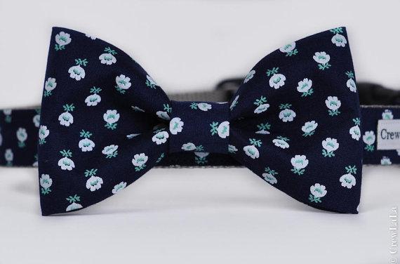 Свадьба - Limited Edition Blue Flower Bow Tie Dog Collar