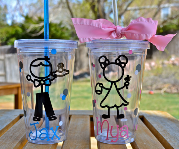 Свадьба - Ring bearer and Flower girl Personalized Tumblers, Ring Bearer and Flower girl Gifts, Wedding Party gifts, Set of Two