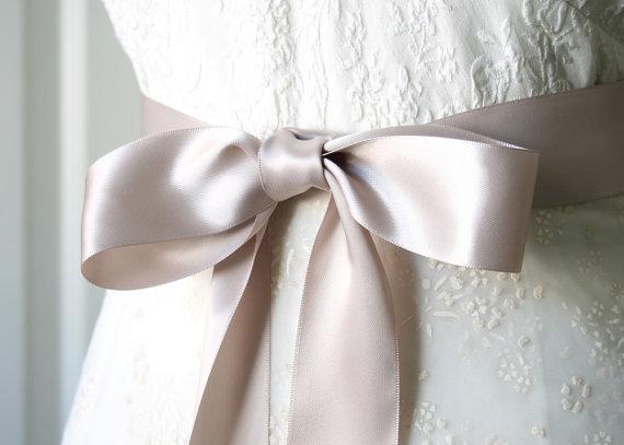 Mariage - Taupe Sash Ribbon Belt, Bridal Sash, Wedding Gown Sash, 1.5 Inch Width