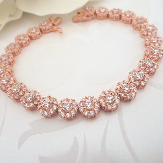 Rose Gold Bridal Bracelet Crystal Wedding Bracelet Bridal Jewelry