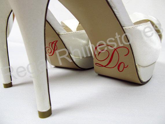 Свадьба - Hologram I Do Shoe Stickers - RED Glitter I Do Applique for Shoes - Wedding Shoe Stickers - I Do Decals