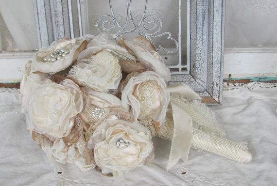 Свадьба - Burlap Brides  Bouquet with Rhinestones and Pearls  Custom Order by Burlap And Bling Design Studio