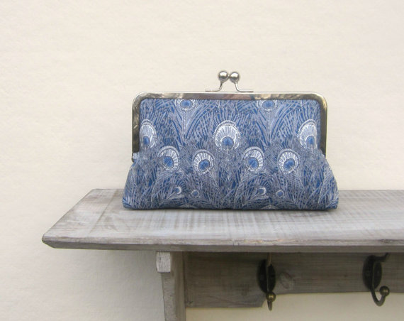 Свадьба - Peacock evening clutch bag, blue bridal clutch bag, bridesmaid clutch, bridesmaid gift, Liberty of London, wedding purse, something blue,