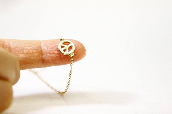Свадьба - Peace Pacifist Bracelet Anklet, 18K Gold Plated, Diamond Cut Chain, Bridal, Wedding Jewelry, Birthday, Birthstone, Custom Orders Welcome