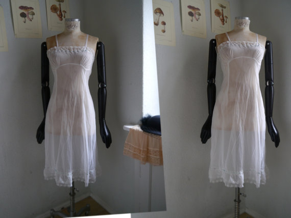 2b01a8780 Vintage slip White Lingerie Ladies Underwear full short slip sheer white  and blue lace and ribbons slip