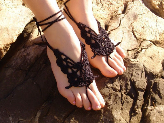 Свадьба - Crochet Butterfly BLACK Barefoot Sandals, Nude shoes, Foot jewelry,Wedding, Black accessory, Sexy, Lolita, Yoga, Anklet , Steampunk