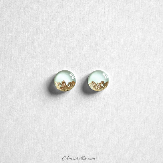 Свадьба - Mint & Gold Flake Round Stud Earrings Circle Dipped Bridal Jewelry Bridesmaid Gift Present Glass Like Resin Elegant Seafoam