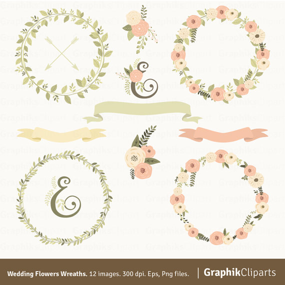 Свадьба - Wedding Flowers Wreaths Clipart. Wreaths Clipart. Laurel Wreaths. Wedding Clipart. 12 images, 300 dpi. Eps, Png files. Instant Download.