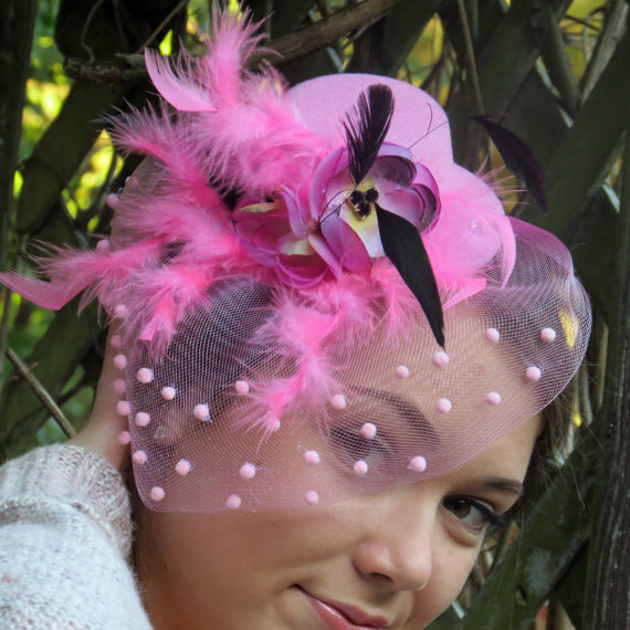 "زفاف - Fascinator, pink, hot pink, flower, wedding hat, veil fascinator, fascinator hat ""Danica Prom"""
