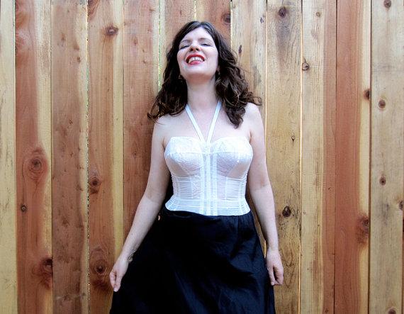 Wedding - vintage 1950s lingerie bustier Love studios of Hollywood White wedding 50s boned halter corset bra