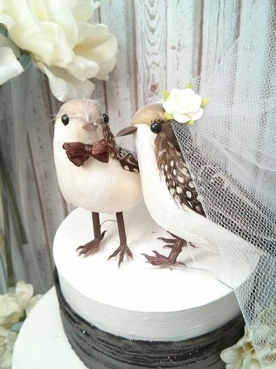 Wedding - SALE brown and white dots shades feathers love birds wedding cake topper
