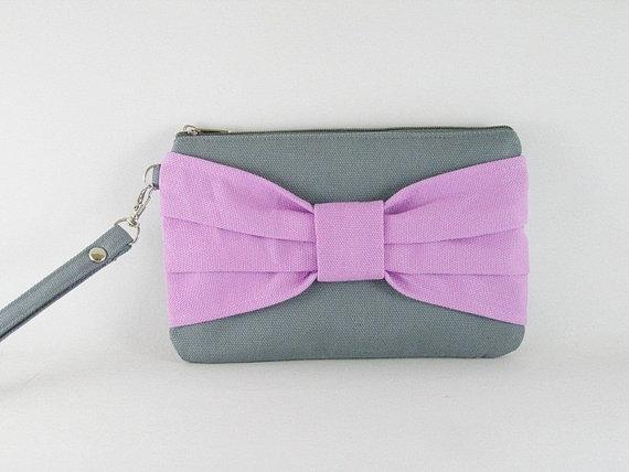 زفاف - SUPER SALE - Gray with Lavender Purple Bow Clutch - Bridal Clutches, Bridesmaid Wristlet, Wedding Gift ,Cosmetic Bag, Camera BagZipper Pouch